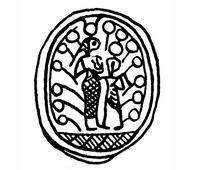 Aus: O. Keel / Chr. Uehlinger, Götter, Göttinnen und Gottessymbole (QD 134), Freiburg, 5. Aufl. 2001, Abb. 363a (= Rowe 1936: Nr. 914); © Stiftung BIBEL+ORIENT, Freiburg / Schweiz