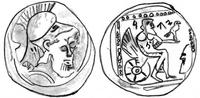 "Zeichnung von © Izaak de Hulster, Utrecht, für den WiBiLex-Artikel ""Jahwe"" nach der Vorlage von Y. Meshorer / S., Qedar, Samarian Coinage (Numismatic Studies and Researches 9), Jerusalem 1999, 15"