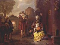 Abb. 2 Im benjaminitischen Gibea erweist ein Ephraimit einem Leviten und seiner Nebenfrau Gastfreundschaft (Jan Victors; um 1650).