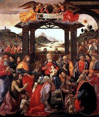 Abb. 2 Die Anbetung durch die drei Weisen aus dem Morgenland (Domenico Ghirlandaio, 1485-1488).