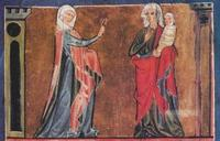 Abb. 3 Sara schickt Hagar in die Wüste (Gen 21; Weltchronik des Rudolf von Ems; 13. Jh.).