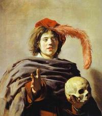 Abb. 1 Vanitas-Darstellung: Junger Mann mit Totenkopf (Frans Hals, 1626-1628).