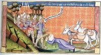Abb. 1 Abigajil vor David (Chronik des Rudolf von Ems; 13. Jh.).
