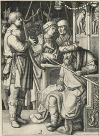 Abb. 2 David und Saul (1Sam 16,14-23). Saul hält den Speer in der Linken, Davids Musik scheint ihn also zu beruhigen – ein Erfolg, auf den auch die Geste des Mannes auf der Bildachse verweist. Mit Turban (darauf Halbmond und Stern) erscheint Saul als türkischer Sultan, der in der Zeit des Künstlers – nach der türkischen Eroberung des Balkans – wohl mit friedlichen Mitteln beruhigt werden soll (Lucas van Leyden, 1509).