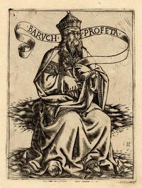 """Abb. 1 Baruch sitzend auf Wolken; in seiner rechten Hand hält er ein Buch und eine Rolle mit der Inschrift """"BARVCH PROFETA"""" (Gravur, Florenz, Baccio Baldini, ca. 1470-1480)."""