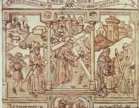 Abb. 8 Isaak und Christus unter der Last des Holzes (Biblia pauperum; Mittelalter).