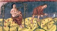 Abb. 3 Die Mühsal von Frau und Mann (Grandval-Bibel; 9. Jh.).