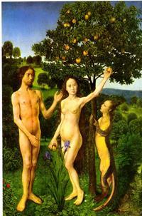 Abb. 1 Eine Schlange, die vor ihrer Verfluchung noch Beine hatte, verführt Adam und Eva, vom Baum der Erkenntnis zu essen (Hugo van der Goes, ca. 1470 n. Chr.).