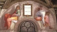 Abb. 1 Die Könige Rehabeam und Abija als Vorfahren Jesu (Michelangelo, um 1510).
