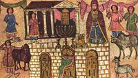 Abb. 1 Opferkult (Tempeleinweihung?) mit Aaron als Ahnvater der Priester und seinen Söhnen Eleasar und Ithamar (Wandmalerei in der Synagoge von Dura Europos / Syrien, 3. Jh. n. Chr.).