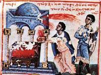 Abb. 1 Nadab und Abihu opfern mit fremdem Feuer (Oktateuch von Watopédi; Athos; 13. Jh.).
