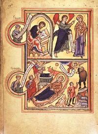 Abb. 1 Amos und Jesaja verheißen Christus (Gebetbuch der hl. Elisabeth; 13. Jh.).