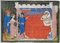 Abb. 6 Abischag wird in Davids Bett geführt (aus einer Bible moralisée; um 1410).