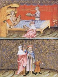 Abb. 1 Geburt der Zwillinge Esau und Jakob (Wenzelsbibel; 14. Jh.).