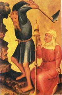 Abb. 1 Adam und Eva nach der Vertreibung aus dem Paradies (Meister Bertram, Hochaltar der Petrikirche, Hamburg; 1375-1383).