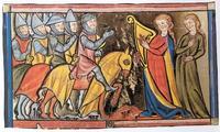 Abb. 2 Jeftahs Tochter begrüßt das siegreiche Heer (Miniatur in der Weltchronik des Rudolf von Ems; 13. Jh.).