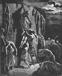 Abb. 4 Die Jabeschiten retten die Leichen Sauls und seiner Söhne (1Sam 31,11-13; Gustav Doré, 19. Jh.).