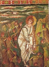 Abb. 4 Mose vor dem brennenden Dornbusch (Mosaik in San Vitale in Ravenna; 6. Jh.).