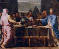 Abb. 1 Ptolemaios II. Philadelphos mit Gelehrten in seiner Bibliothek (Der Globus bezieht sich auf die Entdeckung der Kugelgestalt der Erde und auf die Bestimmung des Erdumfangs durch den Geographen Eratosthenes; Jean Baptiste Champaigne, 1672).