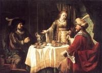 Abb. 1 Haman bei Ester und dem König (Jan Victors, um 1640)