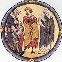 Abb. 2 Elkana zwischen der kinderreichen Peninna und der kinderlosen Hanna (Bible moralisée; 13. Jh.).