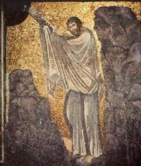 Abb. 6 Gott gibt Mose am Gottesberg die Zehn Gebote (Mosaik in der Kirche des Katharinenklosters am Fuß des Mosebergs auf dem Sinai; 6. Jh.).