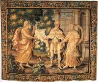 Abb. 1 Abraham und Sara bei Abimelech (Wandteppich Freiburger Münster; 17. Jh.).
